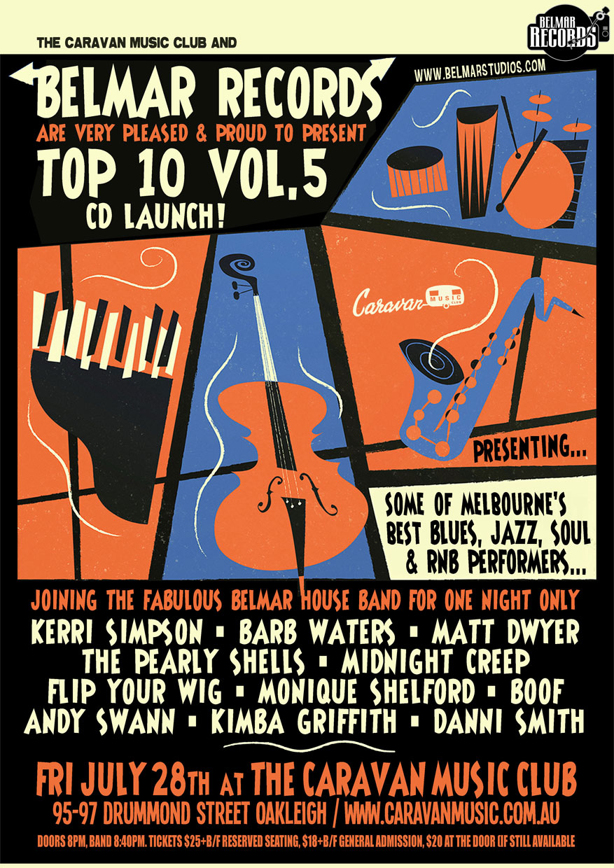 Fri 28th July @ The Caravan Club Belmar Top 10 Vol 5 Launch Party